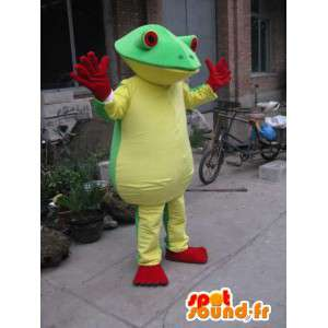 Mascota de la rana verde, amarillo y rojo