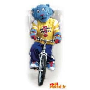 Blue Tiger-Maskottchen mit einem gelben Trikot.Tiger-Kostüm - MASFR006064 - Tiger Maskottchen