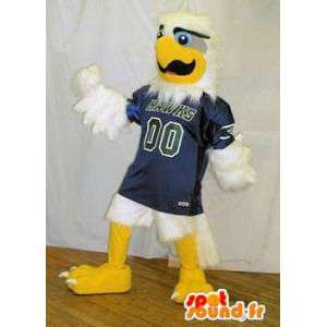 Mascot white eagle in blue sports jersey. Bird costume