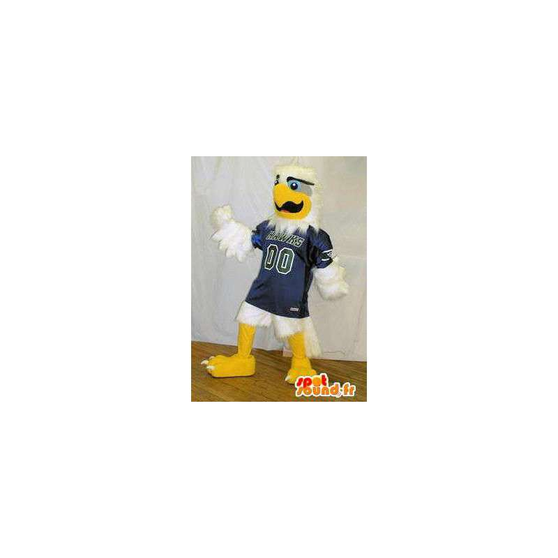 Mascot white eagle in blue sports jersey. Bird costume - MASFR005715 - Mascot of birds
