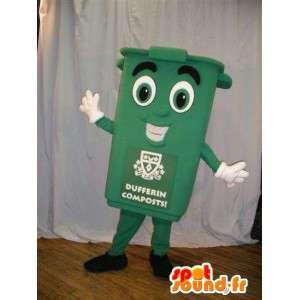 Mascotte de poubelle verte. Costume de poubelle