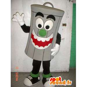 Mascotte de poubelle grise géante. Costume de poubelle