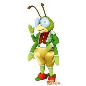 Green grasshopper mascot wearing glasses. Costume Cricket