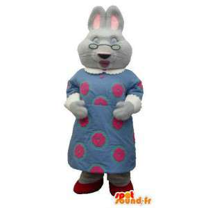 Mascot mother rabbit in a blue dress with glasses - MASFR005833 - Rabbit mascot