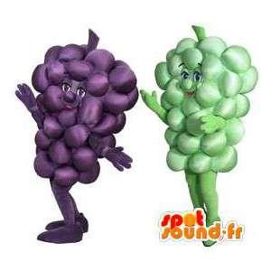 Mascottes de grappes de raisin rouge et blanc. Pack de 2