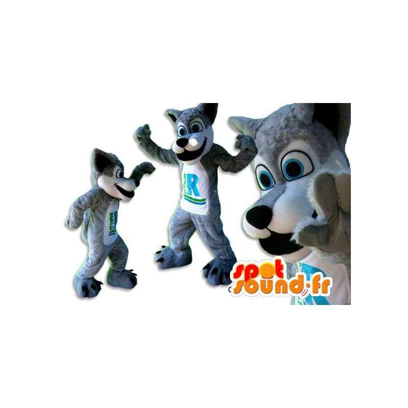Grå og hvit ulv maskot. Gray Wolf Costume - MASFR005839 - Wolf Maskoter