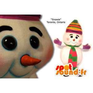 Mascot weißen Schneemann mit Hut und Schal - MASFR005845 - Menschliche Maskottchen