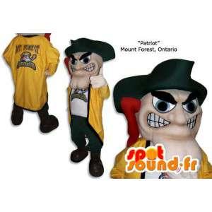Gul och grön piratmaskot med sin traditionella hatt - Spotsound