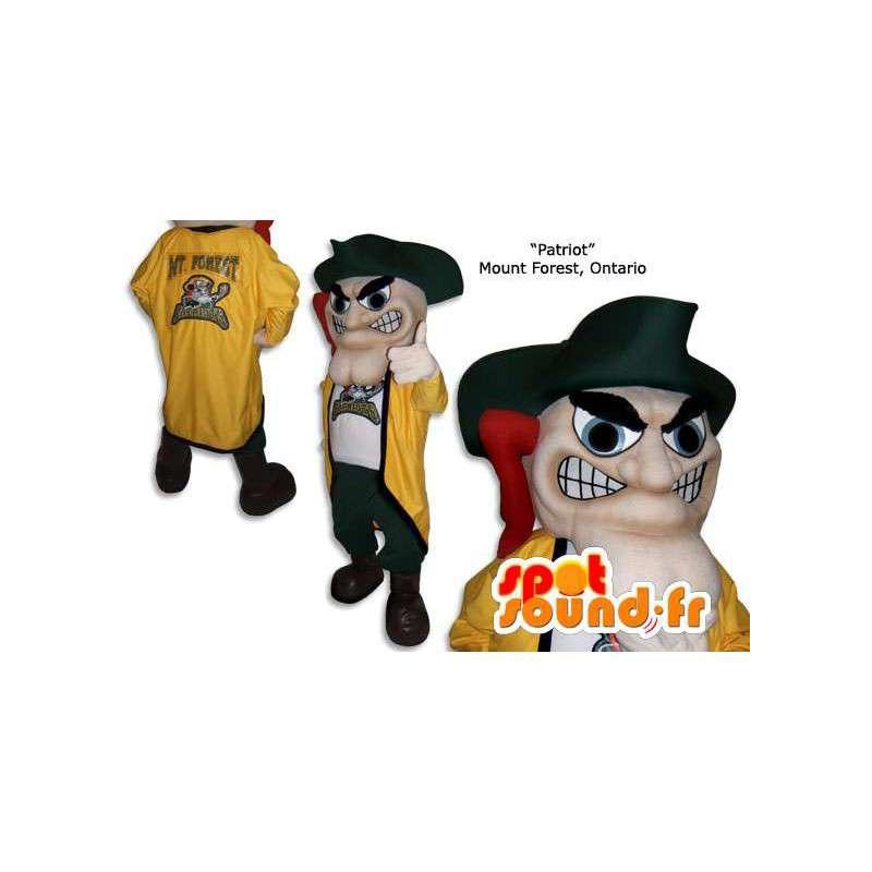 Geel en groen piraat mascotte met zijn traditionele hoed - MASFR005850 - mascottes Pirates