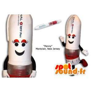 Mascotte de stylo blanc et rouge, géant. Déguisement de stylo