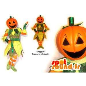 Mascotte kleurrijke pompoen. Halloween Costume