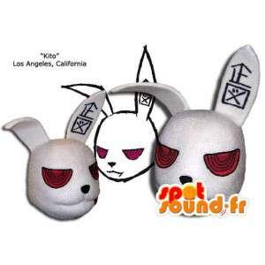 Mascot head giant rabbit, white and red - MASFR005856 - Rabbit mascot