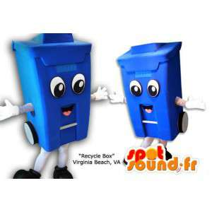 Mascot blue bin. Costume trash - MASFR005858 - Mascots home