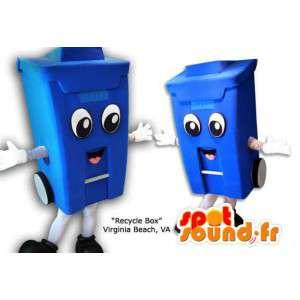 Mascotte de poubelle bleue. Costume de poubelle
