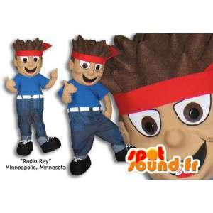 Mascote menino com uma bandana vermelha em seu cabelo