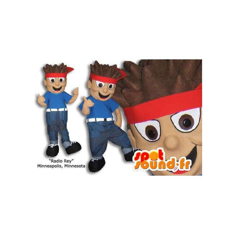 Poika maskotti punainen huivi hiuksissaan - MASFR005861 - Maskotteja Boys and Girls