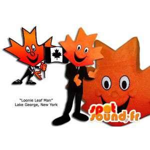 オレンジ色のカエデの葉のマスコット。カナダのコスチューム-MASFR005862-植物のマスコット