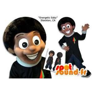 African American maskot. Sort kostume - Spotsound maskot