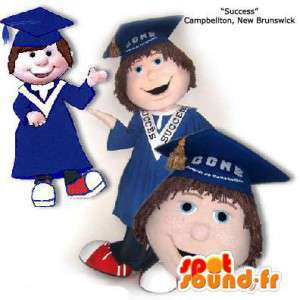 Maskottchen-Absolvent in der blauen Uniform.Diplom-Kostüm - MASFR005872 - Menschliche Maskottchen
