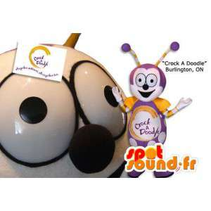 Young caterpillar mascot and purple. Costume insect - MASFR005883 - Mascots insect