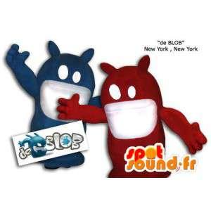 Blauw en rood blob monster mascottes. Pak van 2