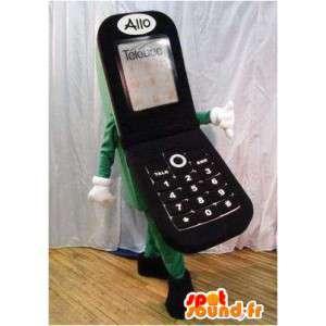 携帯電話のブラックマスコット。モバイルスーツ