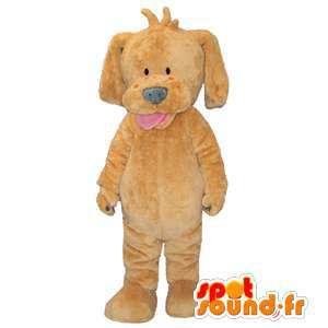 Filhote de cachorro bege mascote, simples e personalizável - MASFR005887 - Mascotes cão