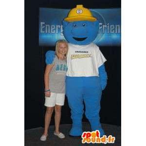 Blauw monster mascotte met een gele helm