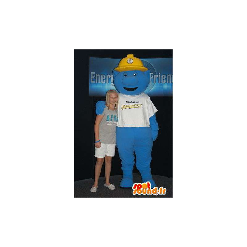 Mascot blue monster with a yellow helmet - MASFR005899 - Monsters mascots
