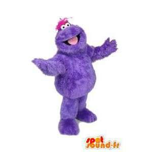 Mascotte de monstre violet, poilu. Costume de monstre