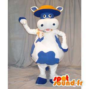 Cow mascot blue and white. Cow Costume - MASFR005911 - Mascot cow