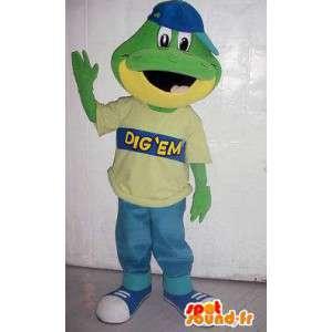 Mascote crocodilo verde e amarela com uma tampa azul