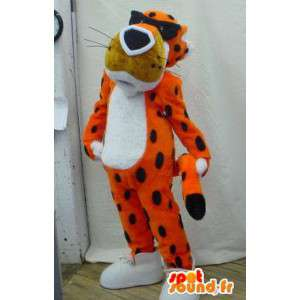 Naranja mascota del tigre, blanco, con gafas y negro - MASFR005917 - Mascotas de tigre