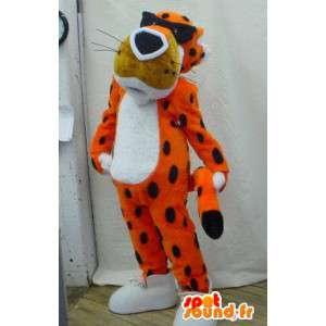 Tiger-Maskottchen orange schwarz und weiß mit Brille - MASFR005917 - Tiger Maskottchen