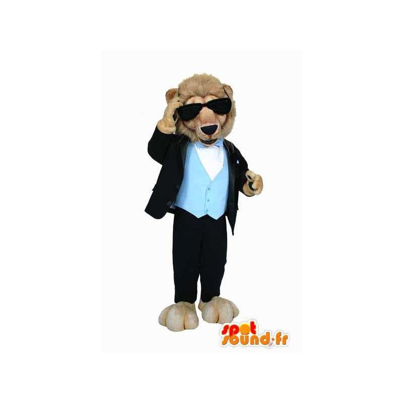 Mascotte de lion en costume, avec des lunettes noires - MASFR005921 - Mascottes Lion