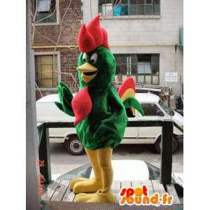 Zielony kogut maskotka, żółty i czerwony olbrzym - MASFR005922 - Mascot Kury - Koguty - Kurczaki