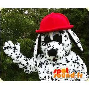 Dalmatian maskot med en rød lue - MASFR005924 - Dog Maskoter