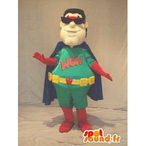 Green super held mascotte, rood en blauw - MASFR005931 - superheld mascotte