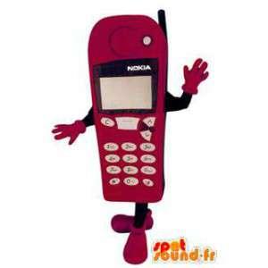 Mascotte de téléphone portable rose Nokia. Costume de téléphone