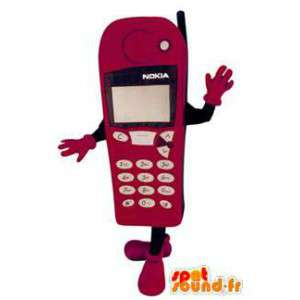 Roze mobiele telefoon van Nokia mascotte. Costume telefoon