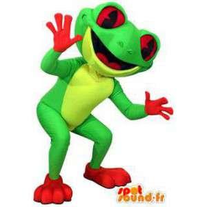 Mascot vihreä sammakko, keltainen ja punainen - MASFR005935 - sammakko Mascot