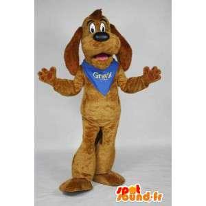 Brun hundmaskot med en blå halsduk - Spotsound maskot