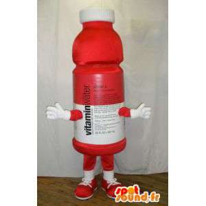 Mascot Flasche rotem Kunststoff.Kostüm Vitamine