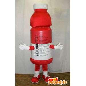 Mascotte de bouteille en plastique rouge. Costume de vitamines
