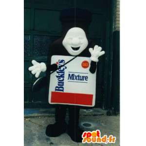 Mascotte de flacon de médicament. Costume de médicament