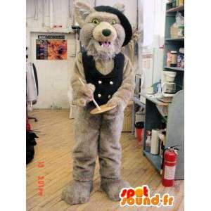 καφέ λύκος μασκότ με ένα γιλέκο και ένα μαύρο καπέλο