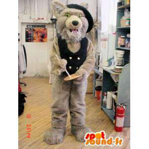 Brown wolf mascot with a vest and a black hat - MASFR005951 - Mascots Wolf