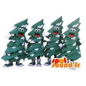 緑のクリスマスツリーのマスコット。 4パック-MASFR005952-クリスマスマスコット