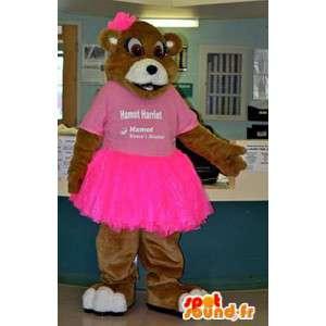 Mascotte bjørn i rosa tutu. Bjørn Suit tutu - MASFR005957 - bjørn Mascot