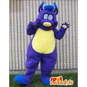 Azul mascote e monstro amarelo. Costume monstro